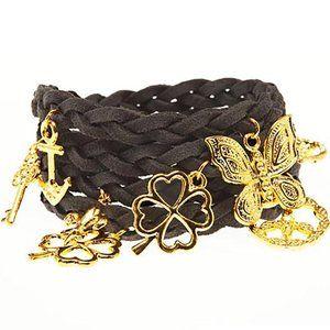 Timi Suede Wrap Charm Bracelet in Dark Grey/Gold